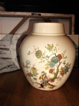 VINTAGE COLLECTABLE GINGER JAR + LID ROYAL CAULDON TWININGS ASIATIC BIRD